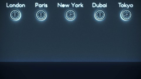 World Clocks Background in Dark Room with space for text, loop - stock footage