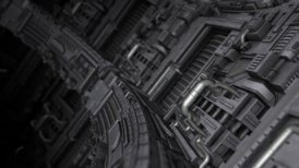 Curved Science Fiction Background - motion graphic