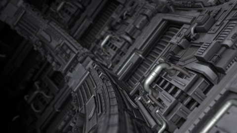 Curved Science Fiction Background - stock footage