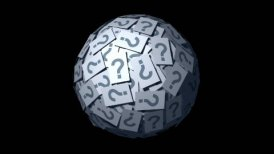 Looping Huge ball made of papers with question mark. - motion graphic