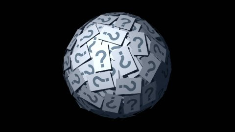 Looping Huge ball made of papers with question mark. - stock footage