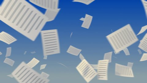 Flying papers on sky - stock footage