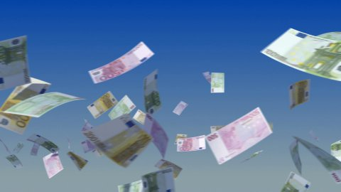 Flying Euro notes on sky - stock footage