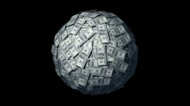 Looping Huge ball made of papers with Dollars.