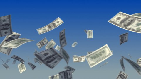 Flying US Dollar notes on sky - stock footage