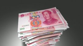 Huge stack of 100 Chinese Yuan bills. - motion graphic