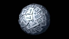 Looping Huge ball made of papers with numbers. - motion graphic