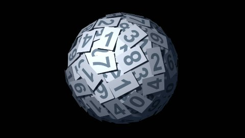 Looping Huge ball made of papers with numbers. - stock footage