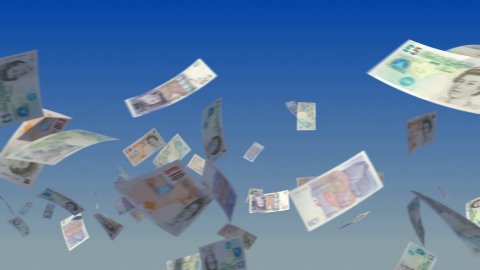 Flying British Pound notes on sky - stock footage