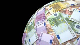 Spinning globe made of euro notes. - motion graphic