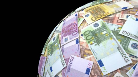 Spinning globe made of euro notes. - stock footage