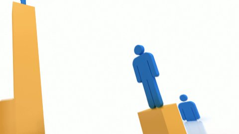 Rising blue people - stock footage