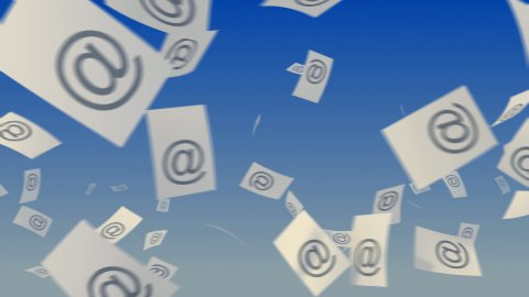 E-mails flying on sky. - stock footage