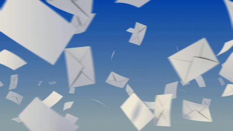 Flying envelopes on sky. - stock footage