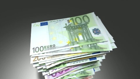 Huge stack of Euro bills. - stock footage