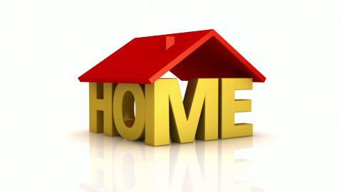 """House made of word """"HOME"""" and roof on top. - stock footage"""