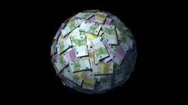 Looping Huge ball made of papers with Euro notes. - motion graphic