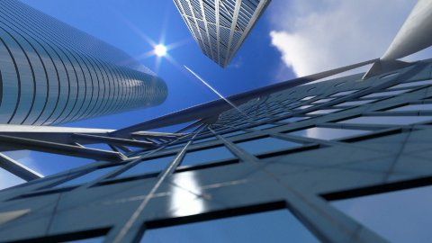 Corporate buildings and time lapse clouds, architectural view - stock footage