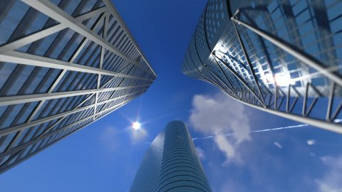 Corporate buildings and time lapse clouds - stock footage
