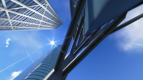 Corporate buildings and time lapse clouds, architectural pov - stock footage