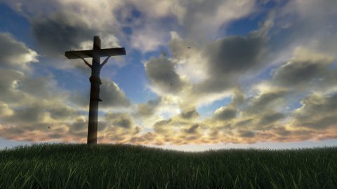 Jesus on Cross, meadow and timelapse sunset - stock footage