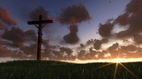 Jesus on Cross, meadow and timelapse sunrise - stock footage