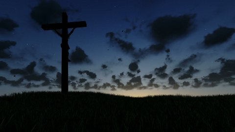Jesus on Cross, meadow and time lapse sunrise, night to day - stock footage
