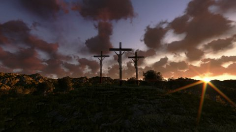 Jesus on Cross, meadow with olives, time lapse sunrise - stock footage