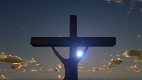 Jesus on Cross, close up, time lapse sunset, day to night - stock footage