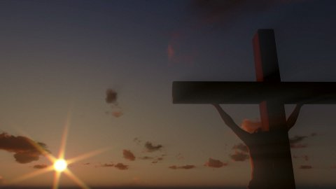 Jesus on Cross, close up, timelapse clouds at sunset, panning - stock footage