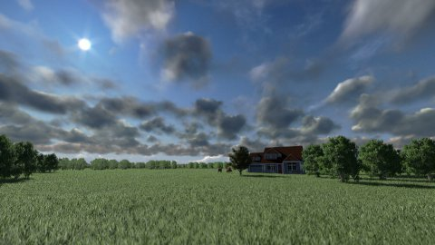 House on green meadow and horses, timelapse clouds - stock footage