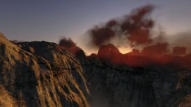 Mountain peaks at sunrise, helicopter view - motion graphic