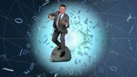 Businessman surfing on a wireframe tunnel surrounded by binary numbers - motion graphic