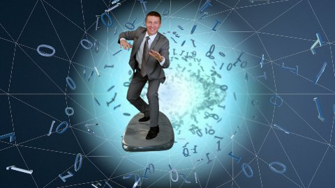 Businessman surfing on a wireframe tunnel surrounded by binary numbers - stock footage
