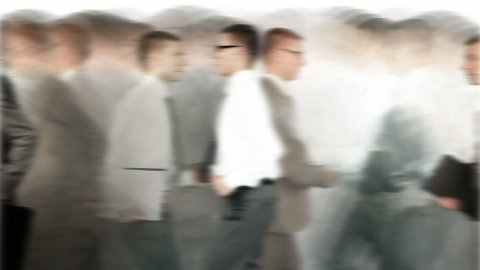 Rush Hour, Businessmen running time lapse, white - stock footage