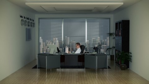 Businessman in Office with Skyline on the Background - stock footage