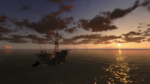Oil Rig in Ocean, time lapse clouds at sunset - stock footage