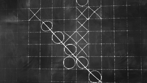 tick tack toe game on blackboard animation - stock footage