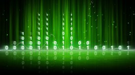 green digital data equalizer background loop - motion graphic