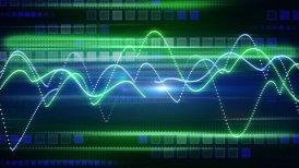 blue green curves and squares tech background loop - motion graphic