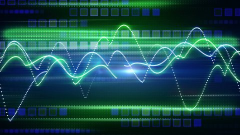 blue green curves and squares tech background loop - stock footage