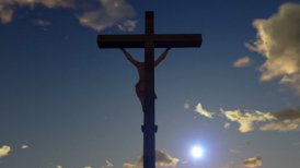 Jesus on Cross, camera fly, timelapse sunrise, night to day - editable clip, motion graphic, stock footage