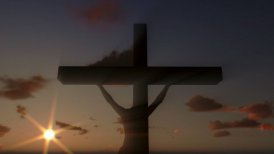 Jesus on Cross, close up, timelapse clouds at sunset - editable clip, motion graphic, stock footage