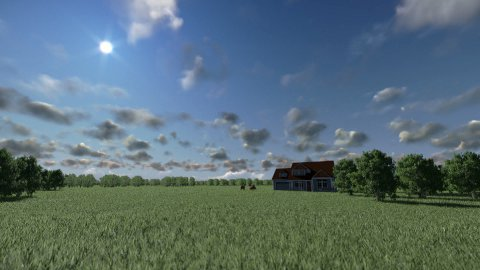 House on green meadow and horses, time lapse day to night - stock footage