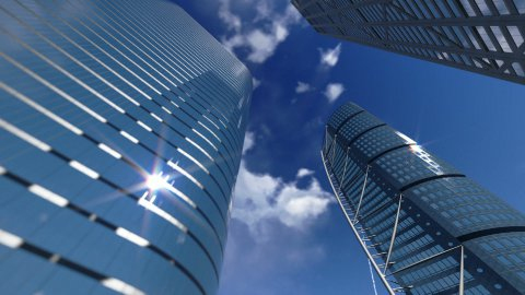 Corporate buildings and timelapse clouds - stock footage