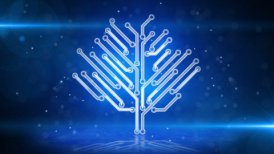 blue circuit board electronic hi-tech growing tree