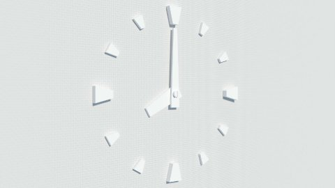 modern white wall-type clock timelapse animation - stock footage