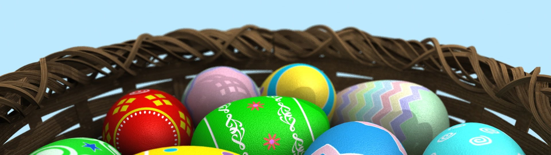 Basket of Easter Eggs | A basket full of colorful Easter eggs rotates in front of the viewer. This animation loops seamlessly. - ID:15296