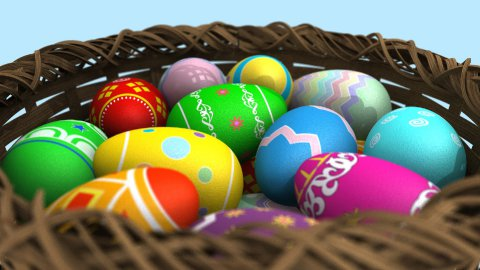 Basket of Easter Eggs - stock footage
