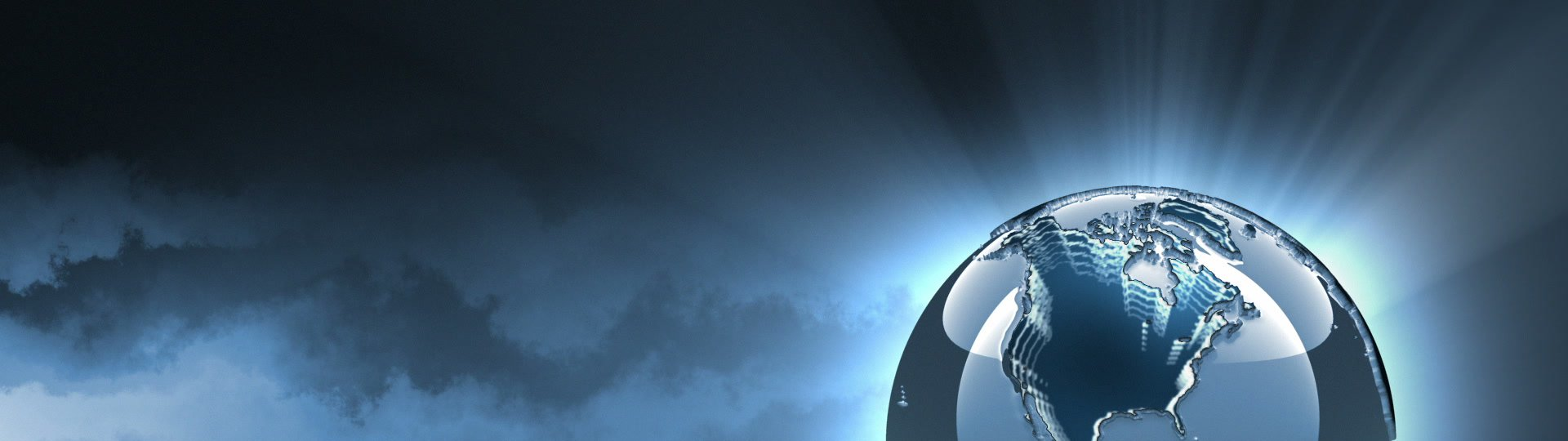 Silver globe at night | 3d rotating futuristic globe on animated night clouds background. Seamless loop. - ID:15331